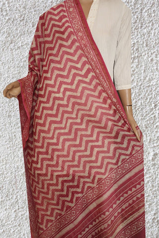Pink with Off White Waves Block Printed Chanderi Dupatta