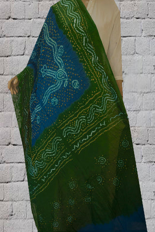 Ramar Blue with Green Tie and Dye Bandhini Cotton Dupatta