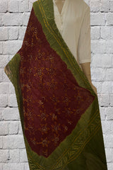 Purplish Brown Tie and Dye Bandhini Cotton Dupatta