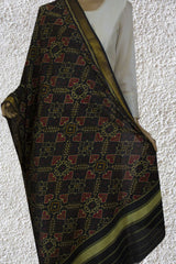 Black with pink Handwoven Silk Patola Ikat Dupatta