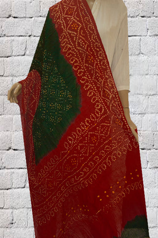 Red with White Tie and Dye Bandhini Cotton Dupatta
