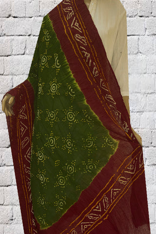 Green with Brown Tie and Dye Bandhini Cotton Dupatta