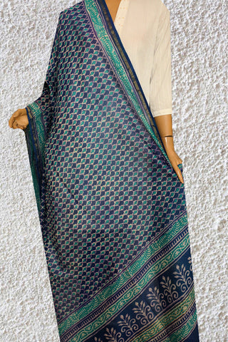 Subdued Blue with Green Hand Block Printed Chanderi Dupatta