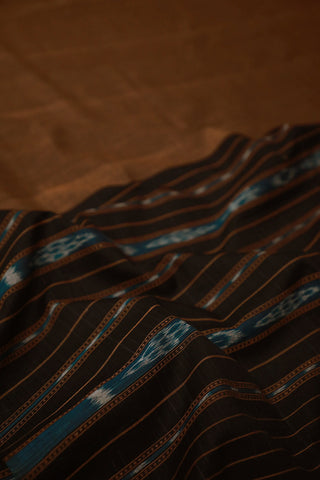 Brown with black Handwoven Ikat Soft Cotton Dupatta