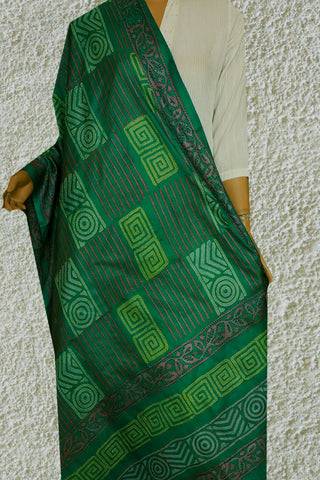 Green Hand Embroidered Kantha Work Silk Dupatta