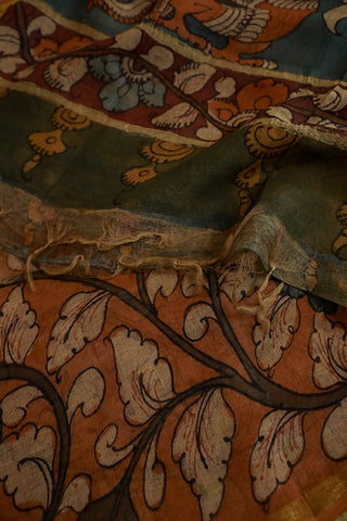 Light Orangish Brown Chanderi Painted Kalamkari Dupatta