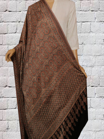 Brown Block Printed Modal Silk Dupatta