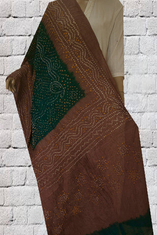 Dark Green with Brown Tie and Dye Bandhini Cotton Dupatta