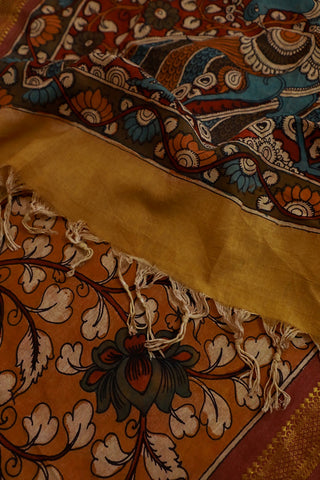 Brown Floral Painted Kalamkari Cotton Dupatta