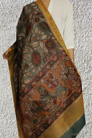 Understated Blue Floral Chanderi Painted Kalamkari Dupatta