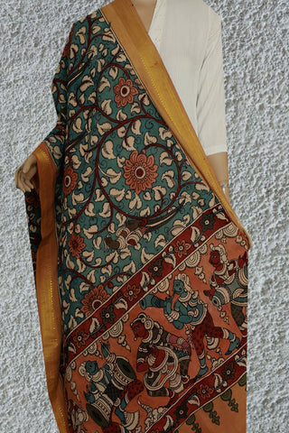 Floral Painted Kalamkari Cotton Dupatta
