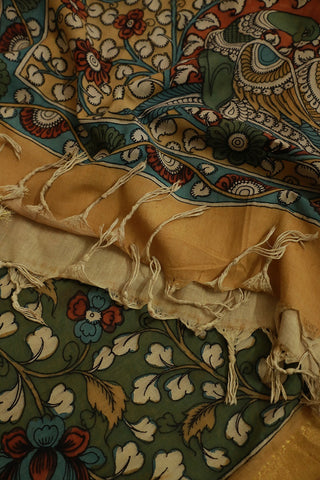 Double Shade Yellowish Green Painted Kalamkari Cotton Dupatta