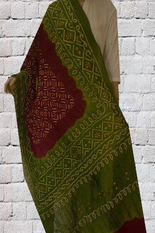 Green with Maroon Tie and Dye Bandhini Cotton Dupatta