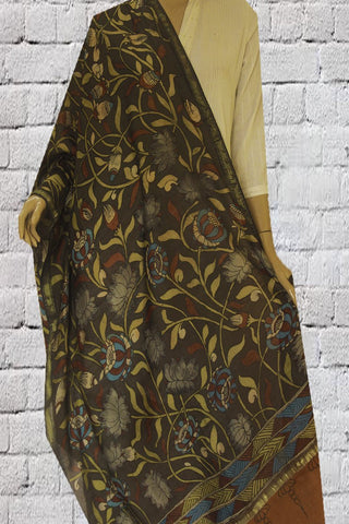 Olive Green with Grey Lotus Hand Painted Kalamkari Chanderi Dupatta