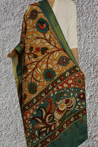 Yellow with Blue Painted Kalamkari Cotton Dupatta