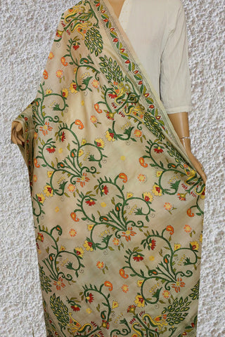 Beige with Green Peacock Hand Embroidered Kantha Work Silk Dupatta