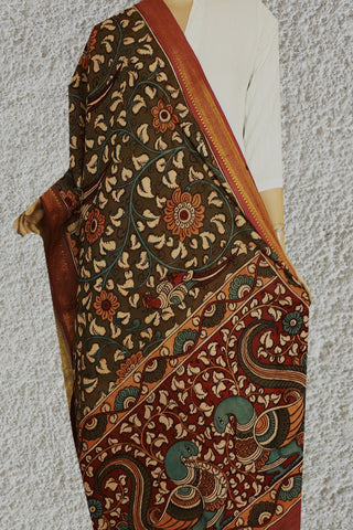 Double Shade Moss Green Painted Kalamkari Cotton Dupatta