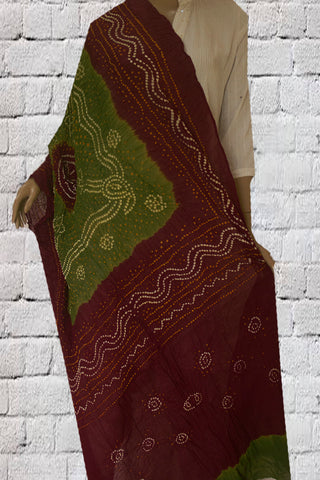Maroon with Light Olive Green Tie and Dye Bandhini Cotton Dupatta