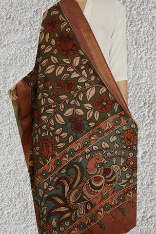 Subdued Green with Maroon Floral Painted Kalamkari Cotton Dupatta