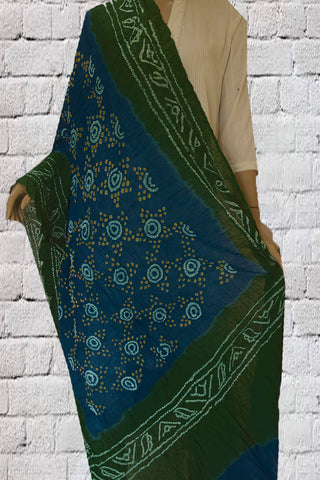 Ramar Blue with White Circles Tie and Dye Bandhini Cotton Dupatta
