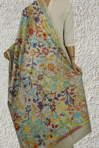 Multicolour Floral Kantha Embroidered Silk Dupatta