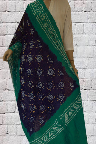 Navy Blue Tie and Dye Bandhini Cotton Dupatta