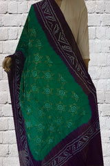 Navy Blue with Green Tie and Dye Bandhini Cotton Dupatta