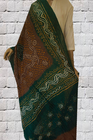 Brown with Green Tie and Dye Bandhini Cotton Dupatta