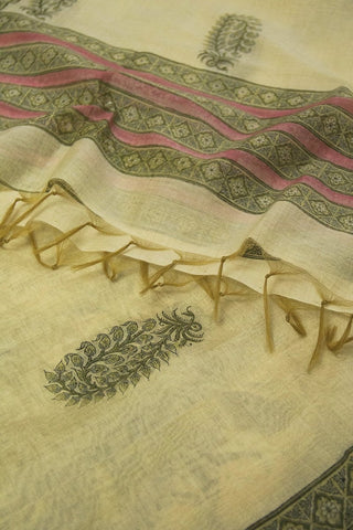 Grey with Pale Yellow Chanderi Dupatta