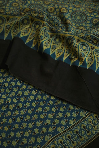 Indigo with Green Ajrak Cotton Dupatta