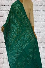 Blueish Green Tie and Dye Bandhini Cotton Dupatta
