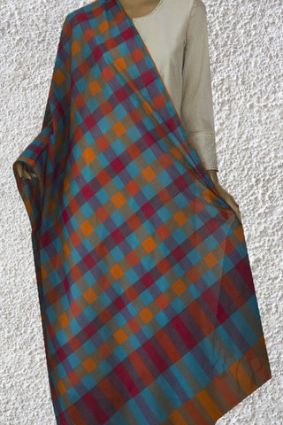 Blue with Multi Colour Checks Handwoven Cotton Dupatta