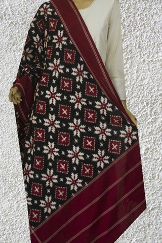 Black with Maroon Telia Rumal Pattern Ikat Dupatta