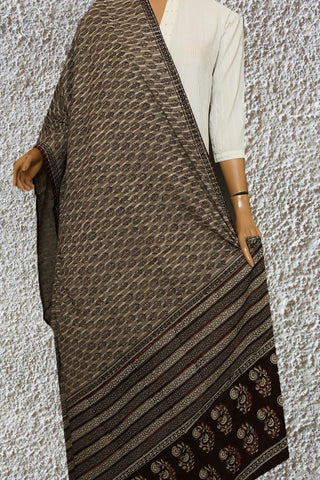 Grey with Brown Block Printed Mul Cotton Dupatta
