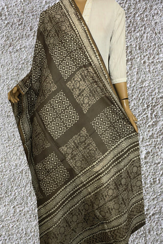 Printed Squares - Grey Block Printed Chanderi Dupatta