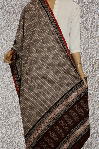 Grey with Off White Dots Block Printed Mul Cotton Dupatta