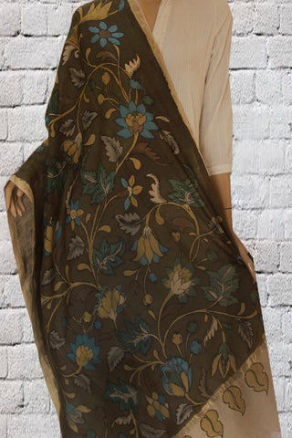 Olive Green Hand Painted Kalamkari Silk Cotton Dupatta