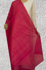 Pinkish Red with Small Missing Weaves Handwoven Cotton Dupatta