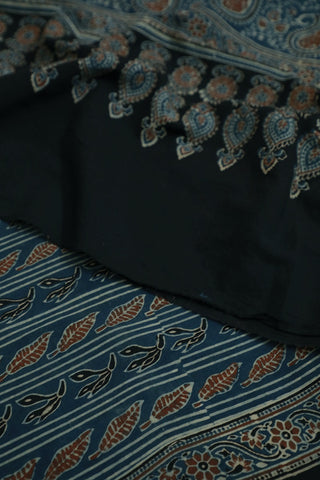 Indigo with Rust Red Ajrak Cotton Dupatta
