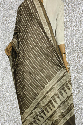 Grey with Off White Block Printed Chanderi Dupatta