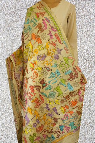 Collection of Flowers and Animals Pattern Kantha Work Silk Dupatta
