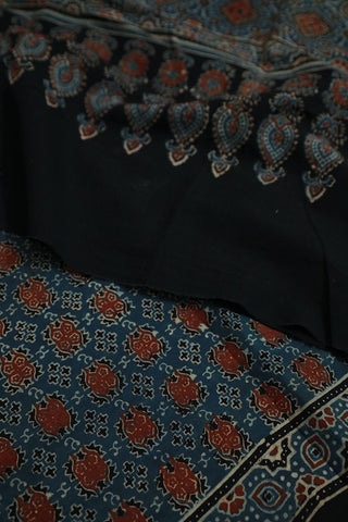 Rust Red with Blue Ajrak Cotton Dupatta