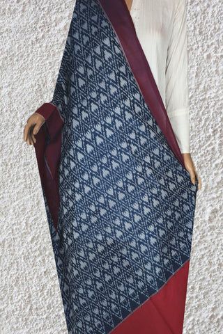 Peacock Blue with Red Mercerized Handwoven Ikat Cotton Dupatta