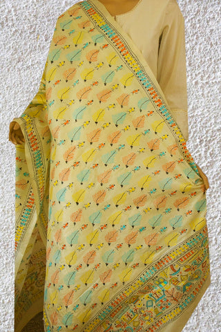 Off White with Leaves Kantha Work Silk Dupatta