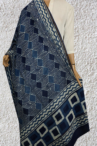 Indigo with Zig Zag Block Printed Chanderi Dupatta