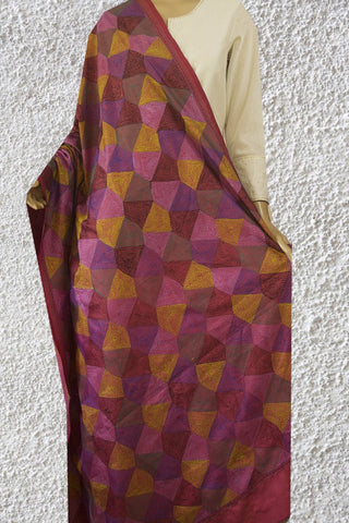 Purple with Multi Colour Stitched Reversible Kantha Silk Dupatta