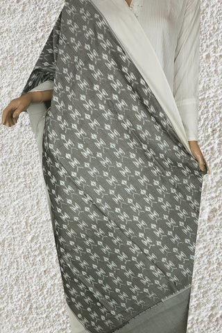 Subtle Grey with White Mercerized Handwoven Ikat Cotton Dupatta