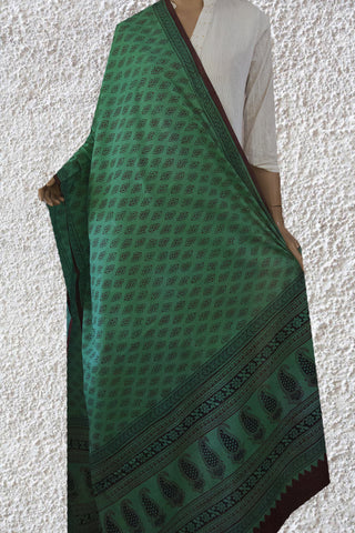Green with Maroon Bagh Print Cotton Dupatta