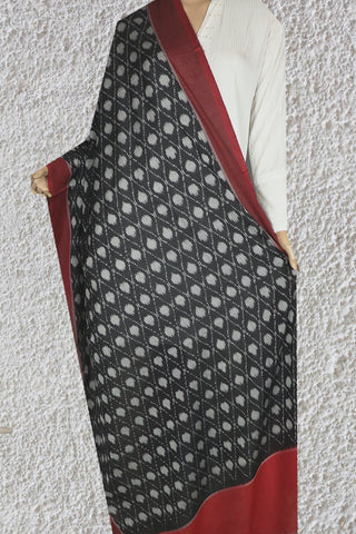 Black with Purplish Red Polka Dotted  Mercerized Handwoven Ikat Cotton Dupatta