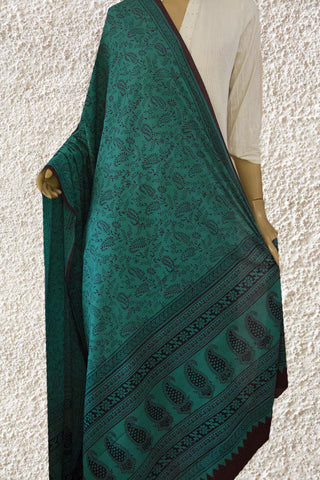 Blue with Brown Bagh Print Cotton Dupatta